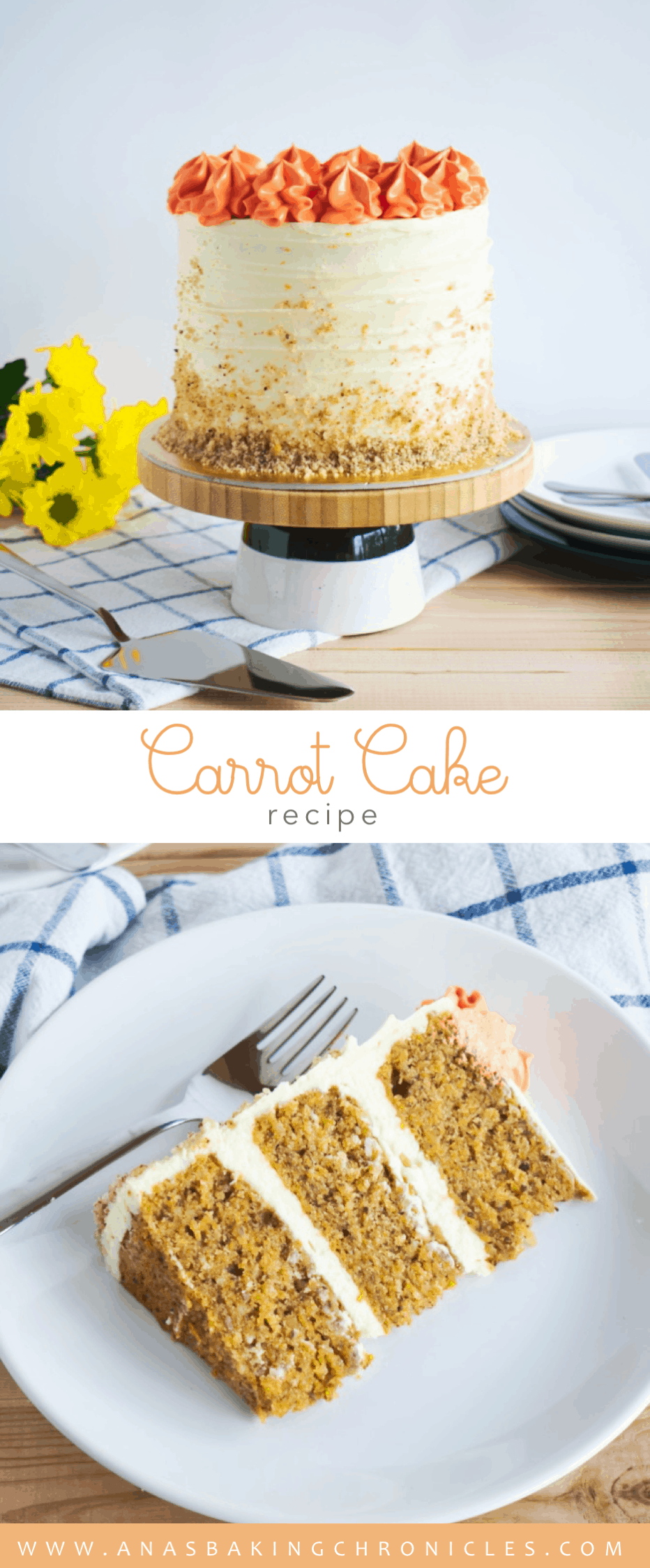 This Carrot Cake recipe is THE ONE! Paired with tangy white chocolate & orange cream cheese frosting - it represents the perfect treat throughout the whole year!⎪www.anasbakingchronicles.com