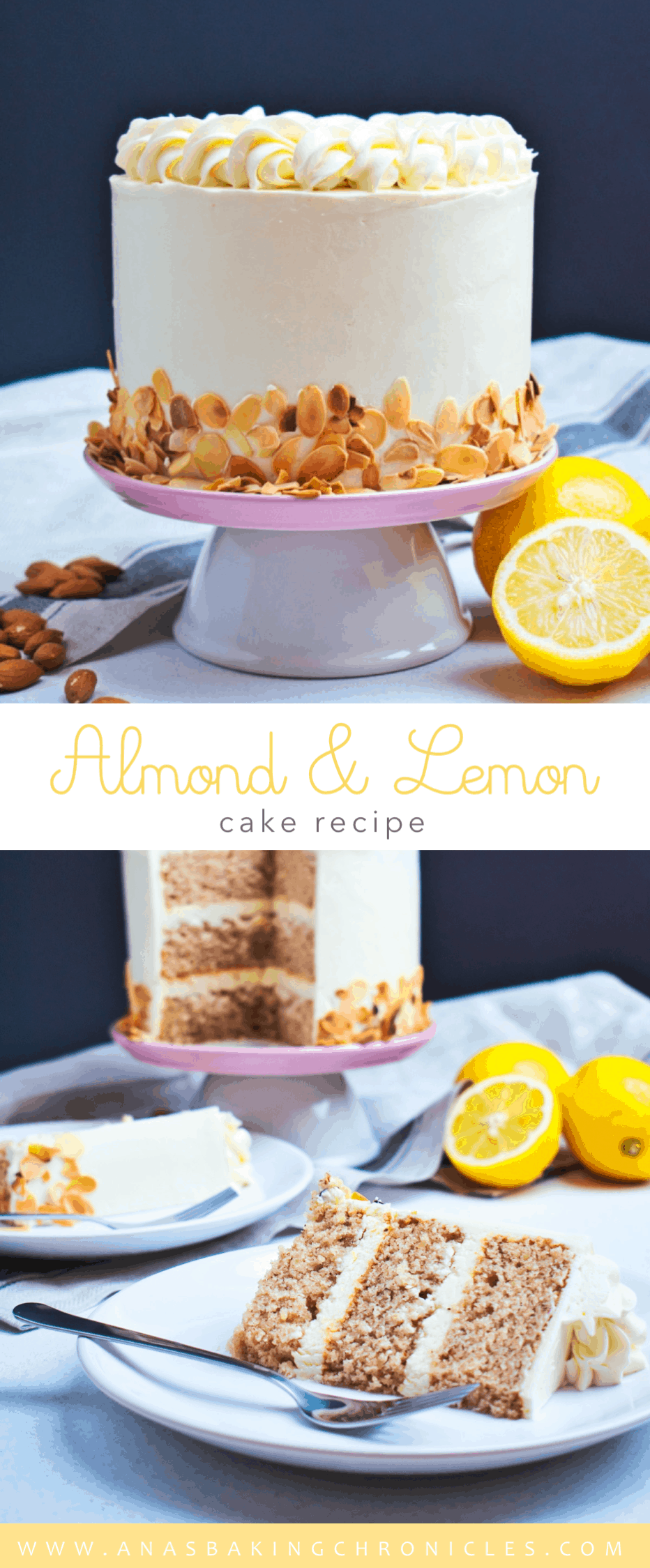 This Almond & Lemon Cake is truly magnificent. Soft and moist almond cake with a hint of cinnamon, filled with lemon cream cheese frosting and coated in lemon buttercream.⎪www.anasbakingchronicles.com
