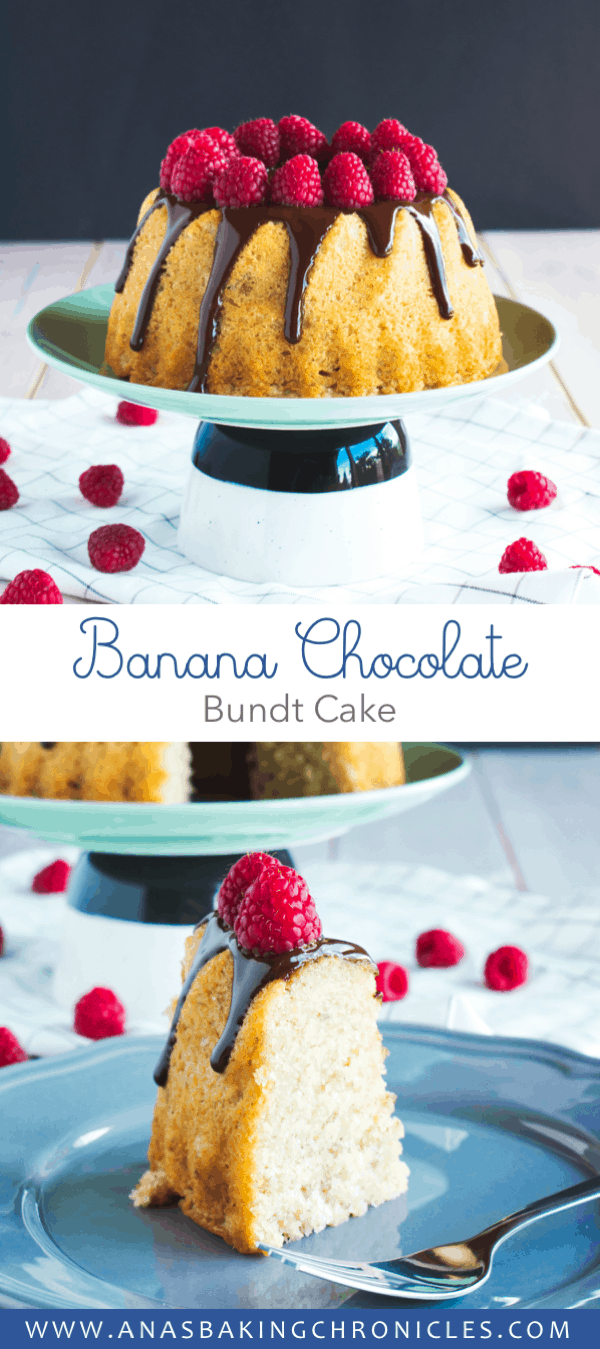 Moist banana cake with a hint of cinnamon, topped with delicious dark chocolate ganache and fresh raspberries. Perfect treat for a Sunday afternoon!⎪www.anasbakingchronicles.com