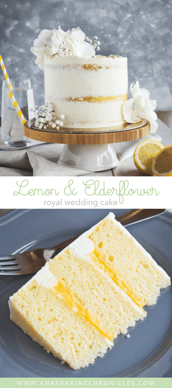 This royal wedding inspired Lemon Elderflower Cake is going to rock your world! Zingy lemon cake, paired with light and fluffy elderflower buttercream and filled with lemon curd. ⎪www.anasbakingchronicles.com