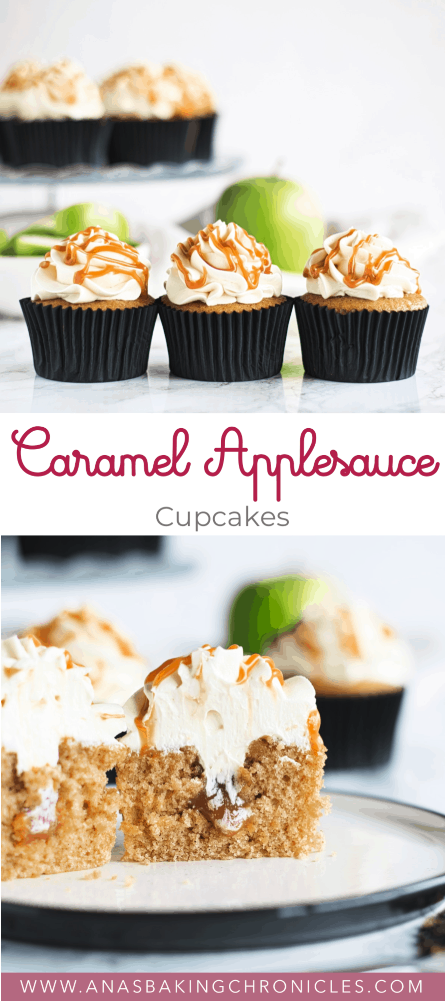 I'm welcoming autumn with these Caramel Applesauce Cupcakes. Fluffy and moist applesauce spice cupcakes, filled with delicious salted caramel and topped with light vanilla buttercream. Is there really a better flavour combination? ⎪www.anasbakingchronicles.com