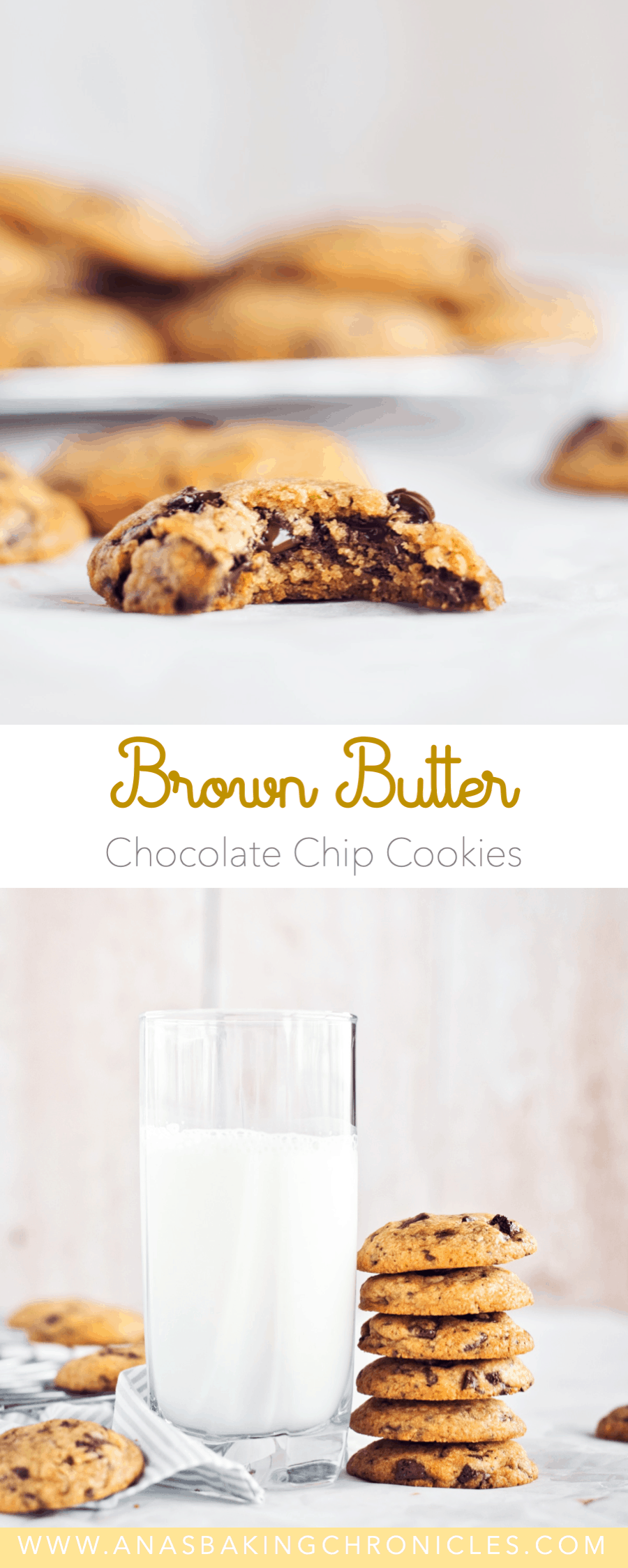 Soft and chewy on the inside, but crispy on the edges – that's my formula for a perfect Choc Chip Cookie! With the addition of brown butter they are likely to become a new favourite!⎪www.anasbakingchronicles.com