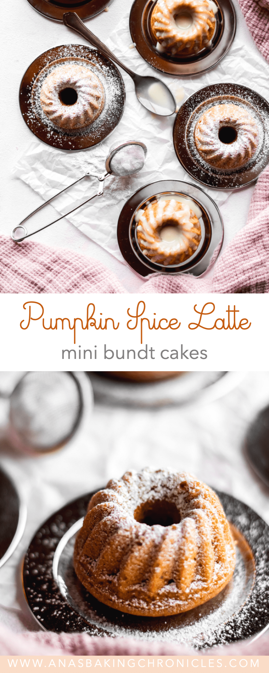 Soft and moist Pumpkin Spice mini cakes, made with homemade butternut squash puree and drizzled with silky Coffee White Chocolate Ganache.⎪www.anasbakingchronicles.com