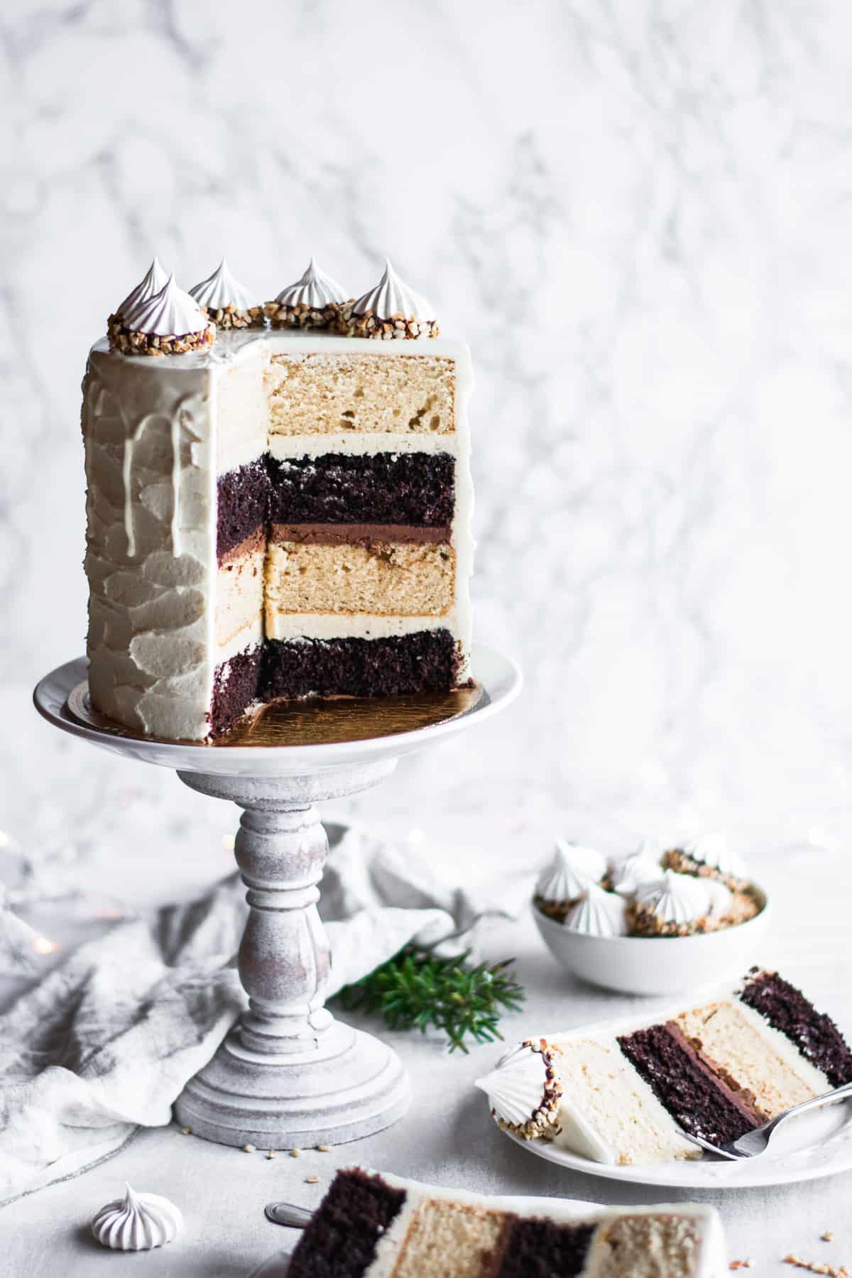 Chocolate Hazelnut Winter Wonderland Cake