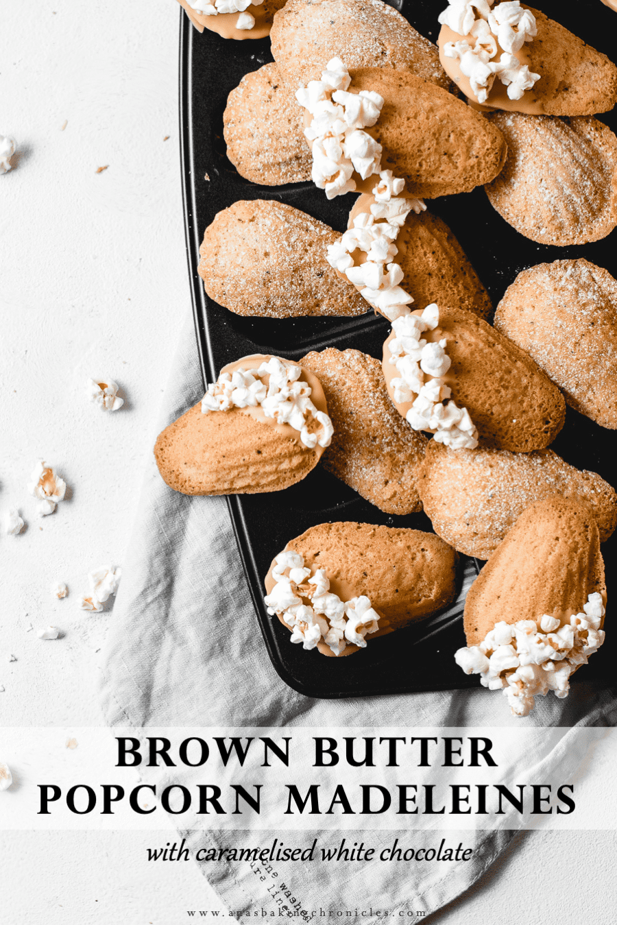 Soft and delicious brown butter madeleines, dipped in gorgeous caramelised white chocolate and sprinkled with salted popcorn. Guaranteed to sweep you off of your feet! ⎪www.anasbakingchronicles.com