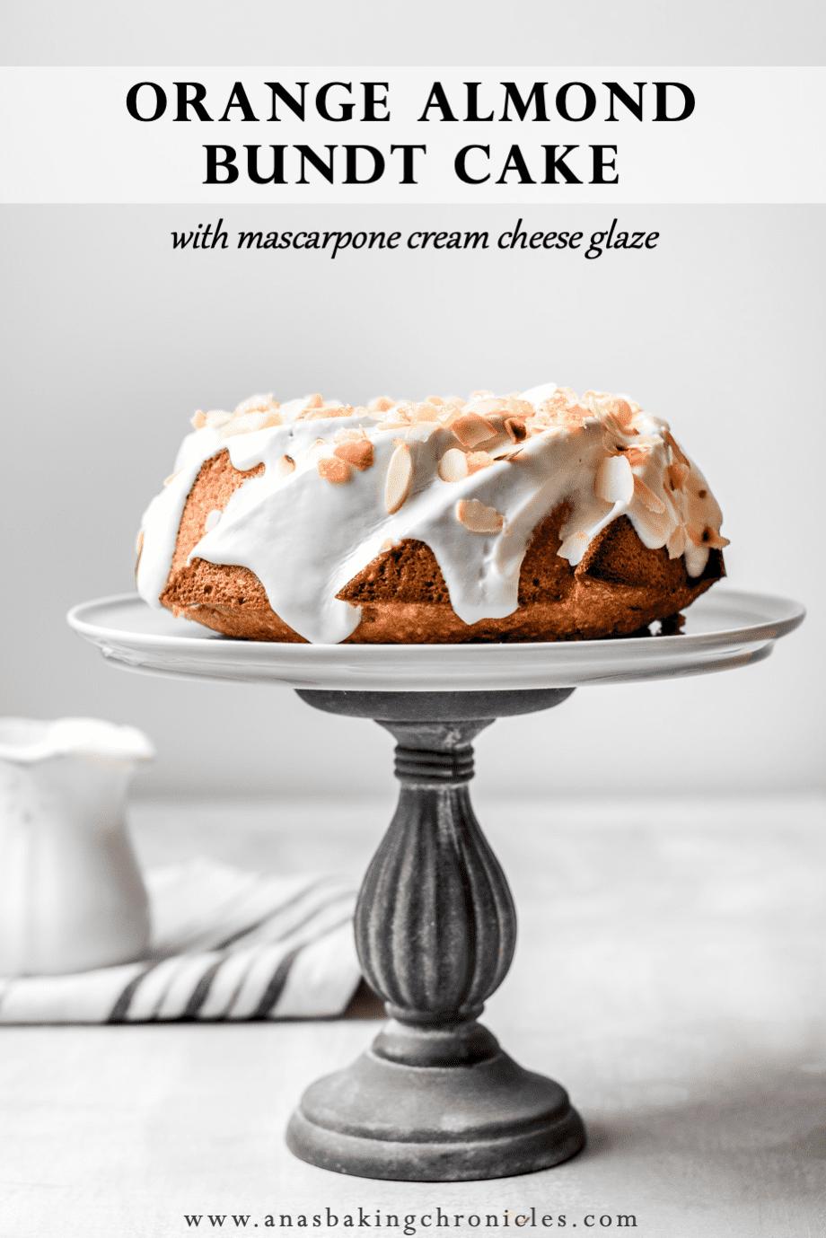 Orange Almond Bundt Cake with Mascarpone Cream Cheese glaze