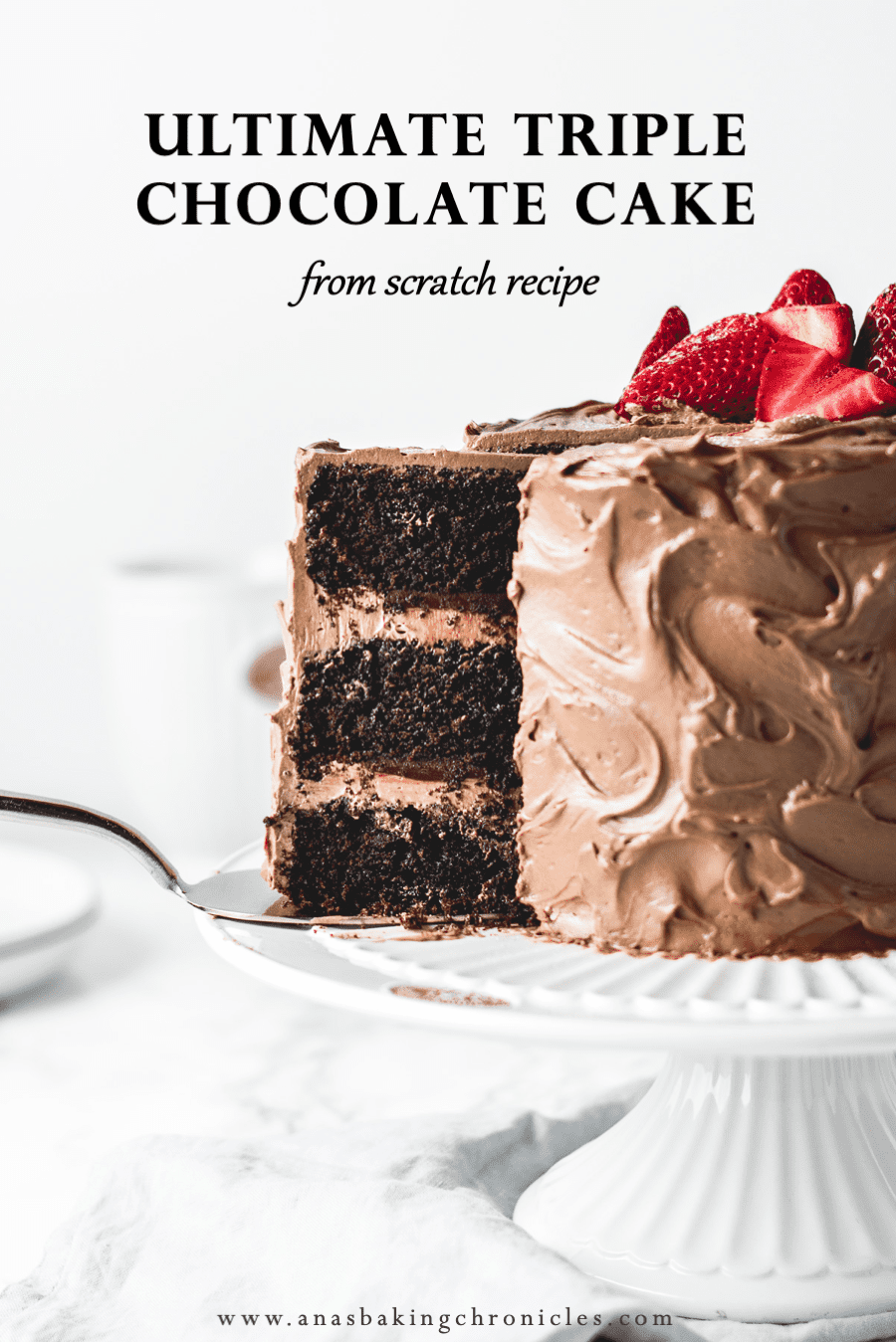Three layers of rich and soft chocolate cake, paired with light and airy chocolate buttercream and filled with luscious dark chocolate ganache.  It doesn\'t get more chocolatey than this!