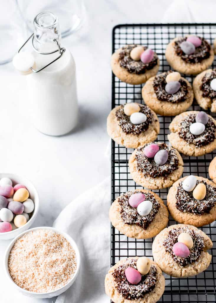 Soft Coconut Cookies with Chocolate Easter Nests ⎪www.anasbakingchronicles.com