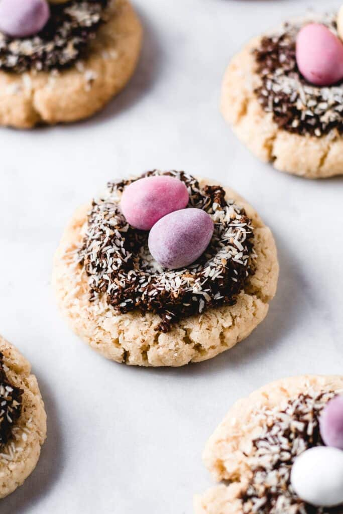 Soft Coconut Cookies with Chocolate Easter Nests