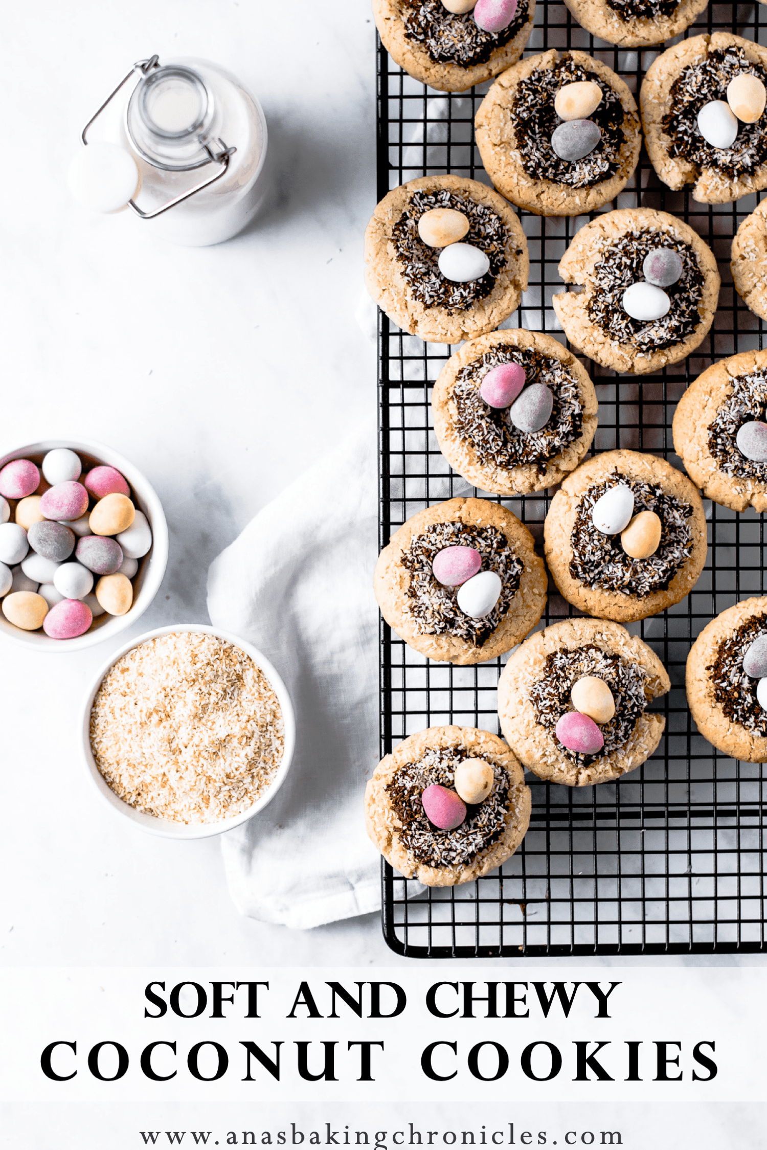 Crispy on the outside, but soft and chewy on the inside, these coconut cookies with chocolate coconut nests are the perfect thing for Easter!⎪www.anasbakingchronicles.com
