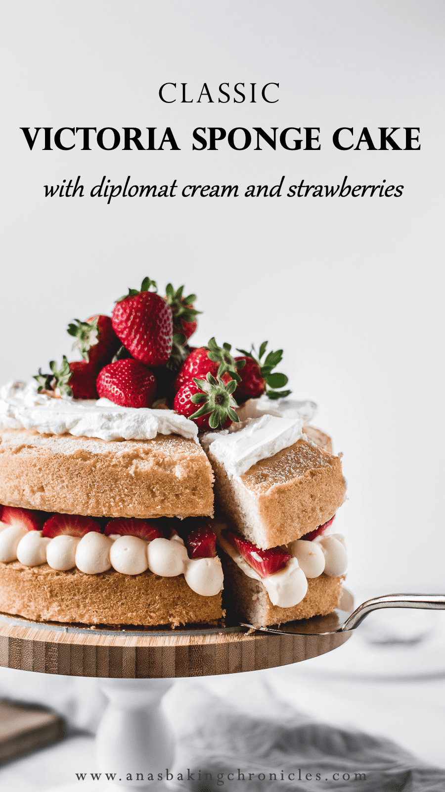 This is one of those traditional bakes that everyone\'s going to love. Soft and fluffy vanilla cake layers filled with light and airy diplomat cream and fresh strawberries. Delicious!⎪www.anasbakingchronicles.com