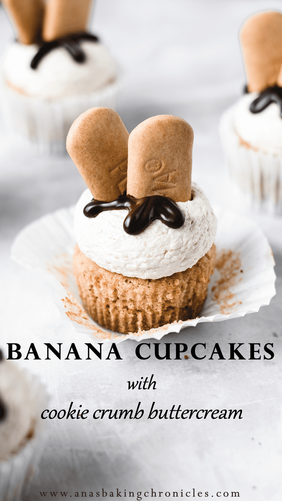 Banana Cupcakes with Cookie Crumb Buttercream