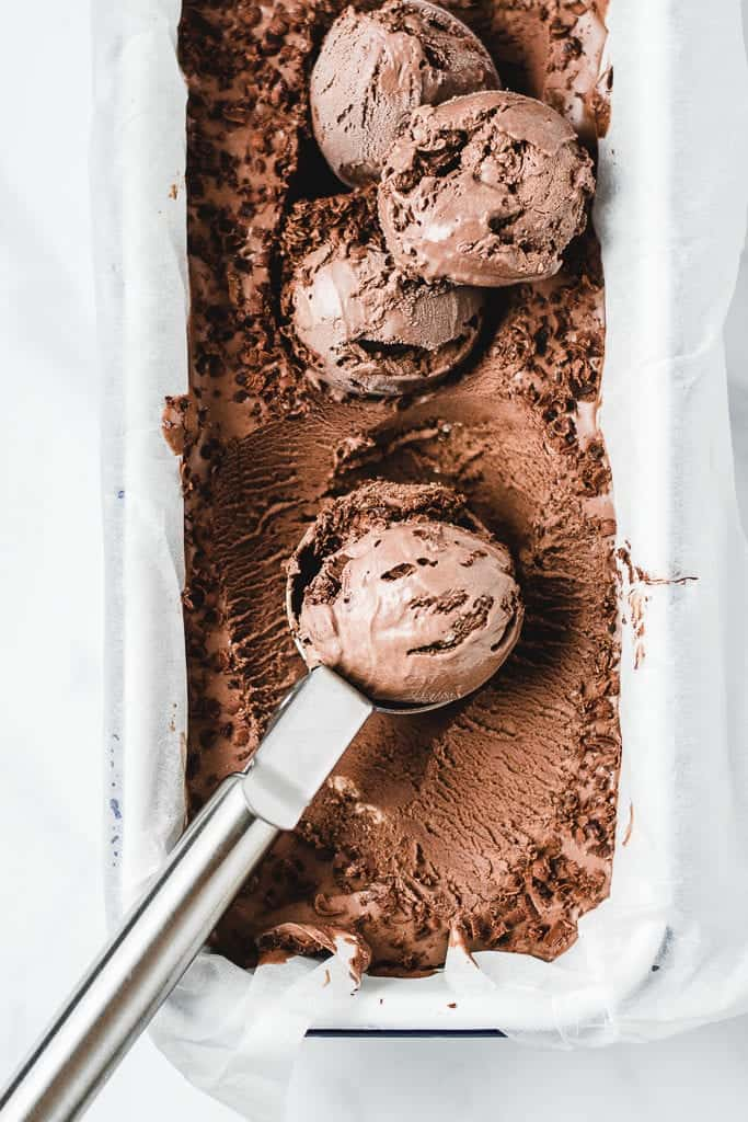Quick and easy recipe for homemade chocolate ice cream. Perfect for your sugar cravings during summer!⎪www.anasbakingchronicles.com
