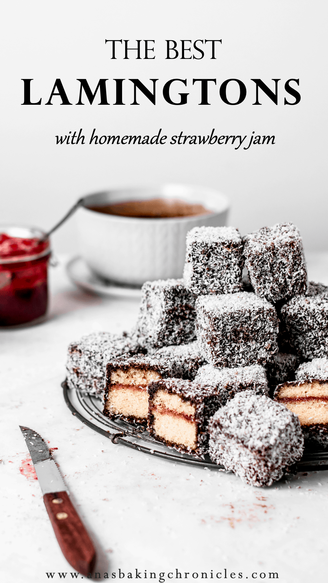 Lamingtons with homemade Strawberry jam