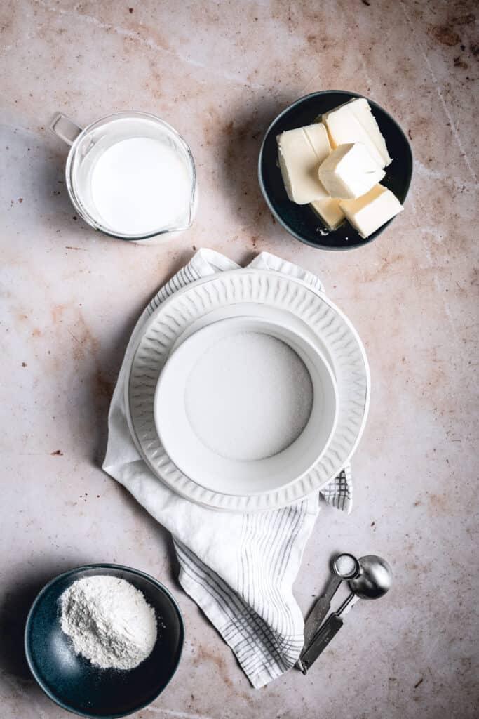 Ingredients needed to make flour buttercream.